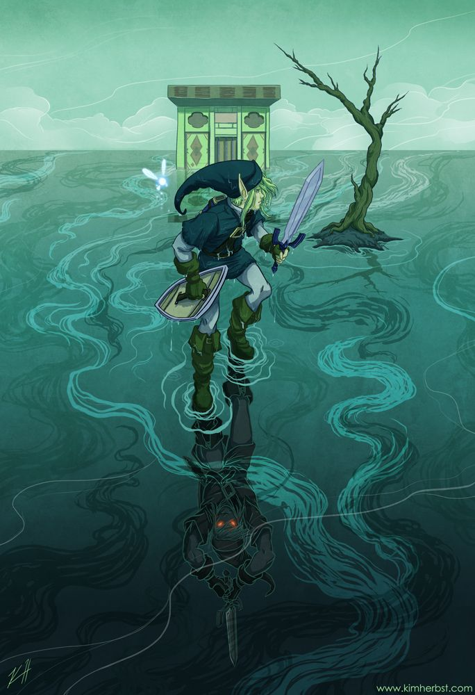 An absolutely beautiful piece! Great lines, love the blue colour palette. Would be great on a wall! Shadow Link Battle LoZ by Kim Herbst