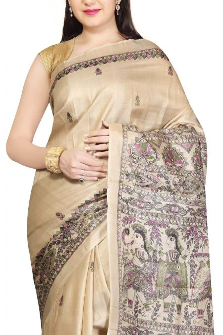 Ecru Madhubani Hand Painted Tussar Silk Saree