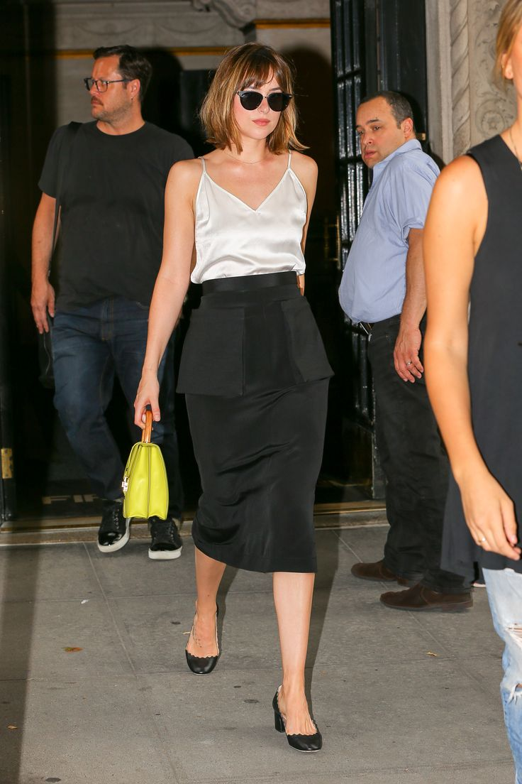 So Long, Stilettos! Dakota Johnson Proves That a Midi Heel Can Be Sexy, Too