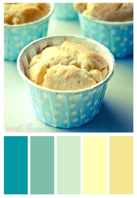 #blue #yellow #sweet #cupcakes I like to use these colors in my kitchen.