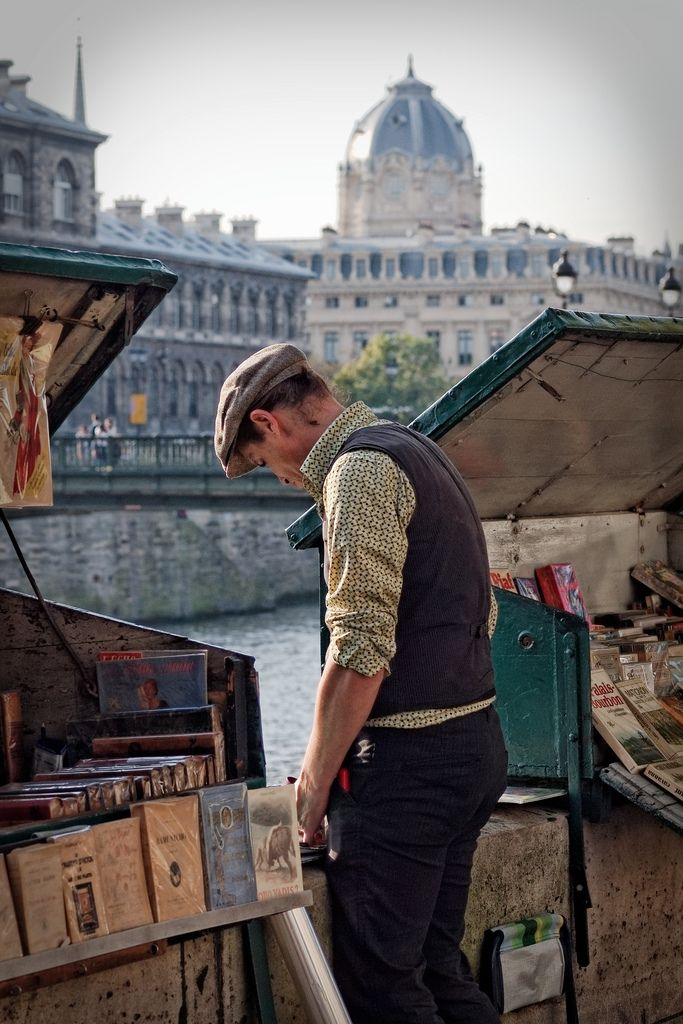 Book store along the Seine, Paris.   Les Bouquinistes. These were closed when I was there. What a shame. They were a part of French culture!