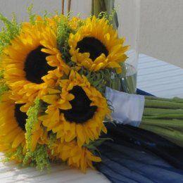 "We love sunflowers!!- Vanja- Setting up for Vivian and Wylie's Special Day- Flower Creations and Decoration: ''Wedding Wish Santorini'' (http://www.facebook.com/SantoriniFlowersAgrokipio)-  Wedding Planner: ""Divine Weddings"""