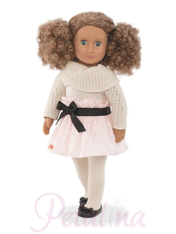 Our Generation Dolls Kaylee- Kaylee is a mixed race doll with medium coloured skin and blue eyes that close. She has golden brown tightly curled hair that is going to be tricky to care for so Kayley would be better for an older girl of 6,7 or 8. Kayley has a skin tone fabric body with phthalate free limbs and head, all of which turn in their joints.