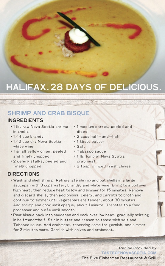 """Shrimp and Crab Bisque"" is a meal rich in #NovaScotia #seafood flavour. Don't discard shrimp shells - they add to a delicious broth, an important start to any soup, stew, or bisque. Serve this traditional #Maritime food as an #appetizer or #maincourse. #Halifax #28daysofdelicious"