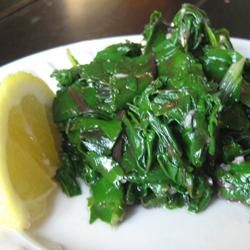 Beet Greens from Simply Recipes.... didn't have bacon so used butter. Also replaced about 1/4c. of the water with white wine and added a handful of chopped walnuts. Really good! Wasn't expecting to like beet greens, but I do :)