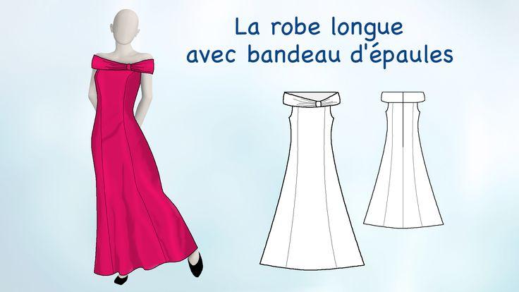 """Visuel (La robe longue avec bandeau d'épaule) du DVD """"Les secrets du patronage avec Zouzou"""" (modepourlol.com)"""