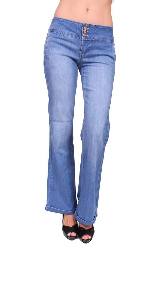 Celebrity Pink Women Flare Jeans With 3 Front Button And Gold Stitch Cj22091H18