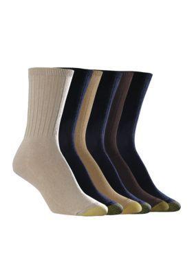 Gold Toe  Ribbed Crew Socks - 6 Pack