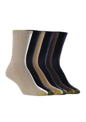 Gold Toe  Ribbed Crew Socks - 6 Pack