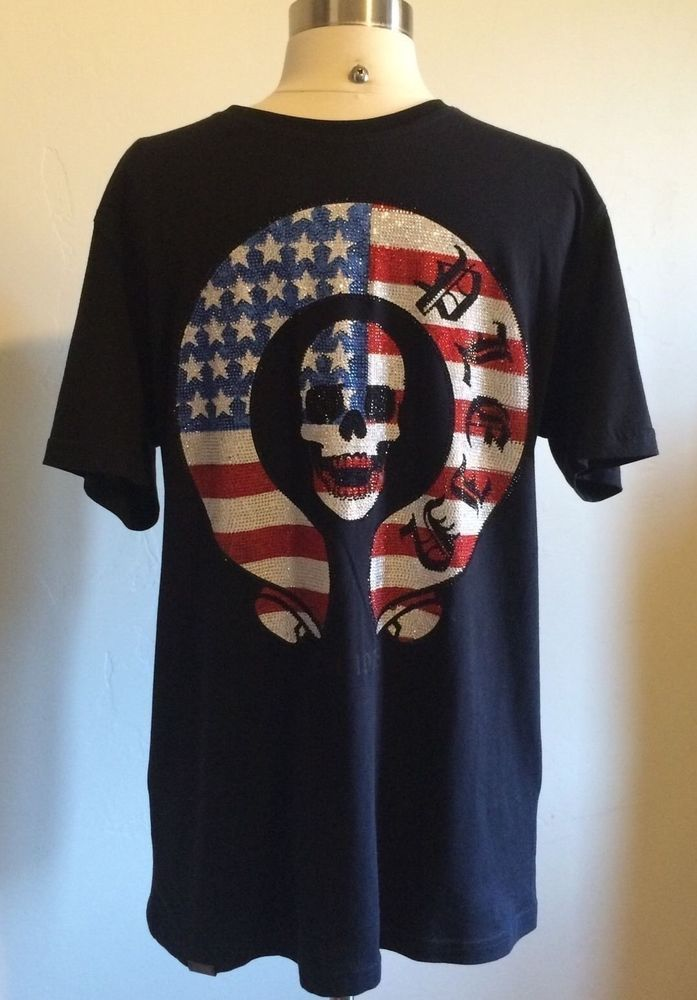 Phillipp Plein TShirt Skull Patriotic US Flag Stars Stripes Crystals Size Large #PhillippPlein #EmbellishedTee
