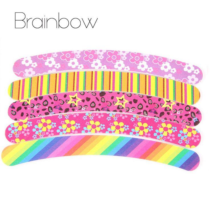 Brainbow 5pcs/lot Printing Nail Files Sanding 100/180 Curve Banana for Nail Art Tips Manicure Nail File Buffer Block CND Tools