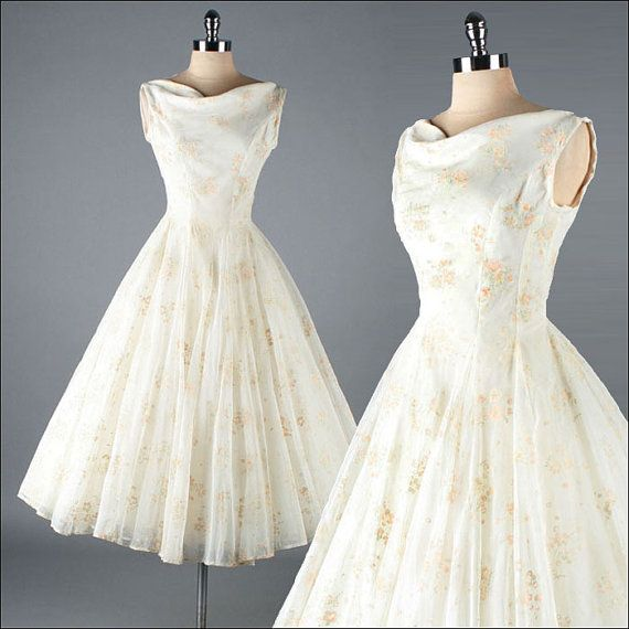 Vintage 1950s Dress  Ivory Chiffon  Flocked by millstreetvintage, $245.00