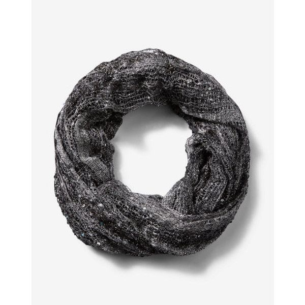 Express Black Metallic Sequin Loop Scarf ($15) ❤ liked on Polyvore featuring accessories, scarves, black, express scarves, infinity scarves, viscose scarves, metallic scarves and metallic shawl