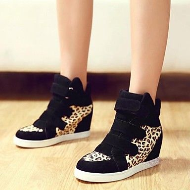Platform Wedge Heel Canvas Fashion Sneakers with Leopard Split Joint Women's Shoes(More Colors) - USD $ 23.24