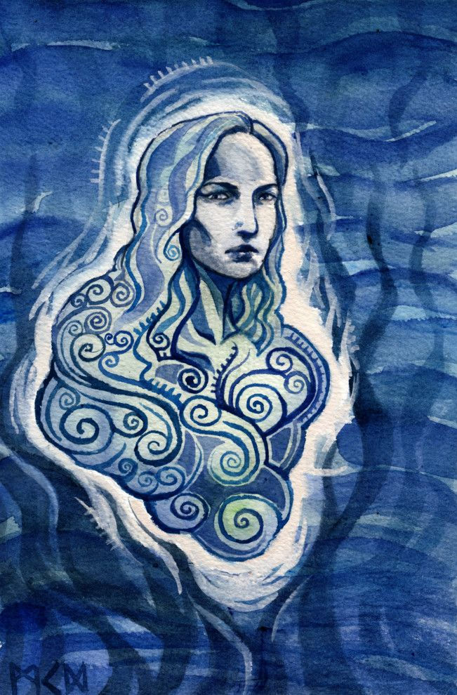 "In Finnish mythology, Vellamo is the goddess of the sea, the wife of Ahti. The name is derived from the verb velloa, ""to rock oneself."" She is sometimes described as ""cold hearted"". Along with Ahti, she dwells in the undersea palace of Ahtola. She is often pictured as a mermaid."
