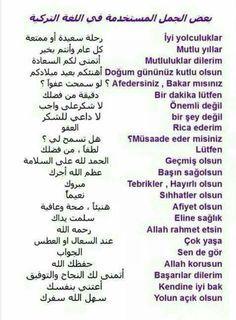 بعض الجمل باللغة التركية