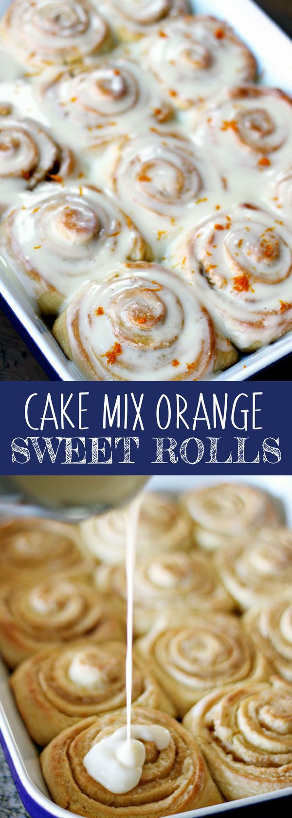 Looking for easy dessert recipes? These Cake Mix Orange Sweet Rolls are tender, sweet rolls with fresh orange zest in the dough smell absolutely heavenly baking. Drench them in my Orange Cream Cheese Glaze for an amazing sweet roll, perfect for breakfast or brunch. Absolutely delicious! For more easy food recipes, creative craft ideas, easy home decor and DIY projects, check us out at #no2pencil. #food #foodlover #sweettooth #recipeoftheday #recipeideas