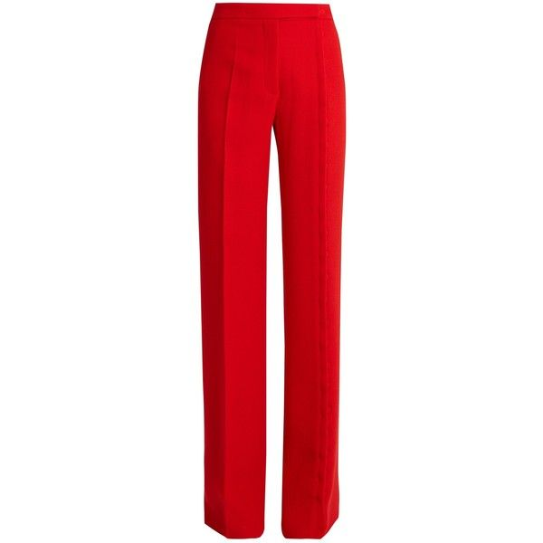 Marco De Vincenzo Wide-leg wool-crepe trousers (2,655 PEN) ❤ liked on Polyvore featuring pants, red, high-waisted trousers, high-waist trousers, high waisted pants, wide-leg pants and pastel pants