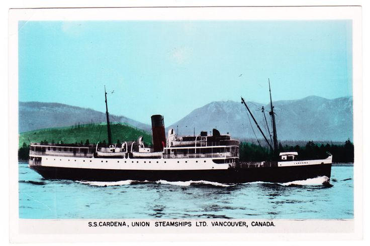 BC - VANCOUVER, Union Steamship Cardena in First Narrows, Gowen c.1953-1955 RPPC