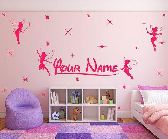 Personalizzato Tinkerbell, Disney fairies stile, nome e stelle. Completo adesivo da parete in vinile arte decal. (#2)