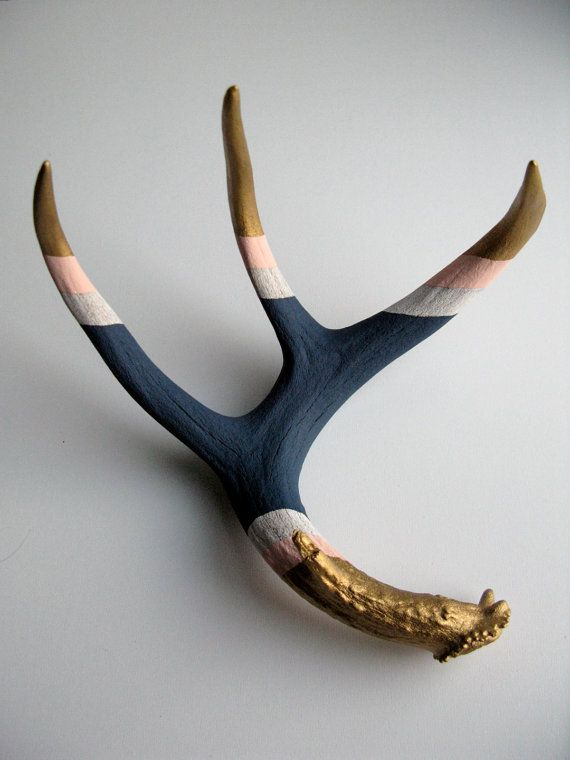 naturally shed* White-tailed Deer antler, hand-painted