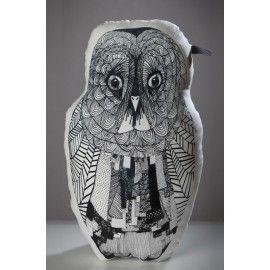 Mooncake Owl pillow small black