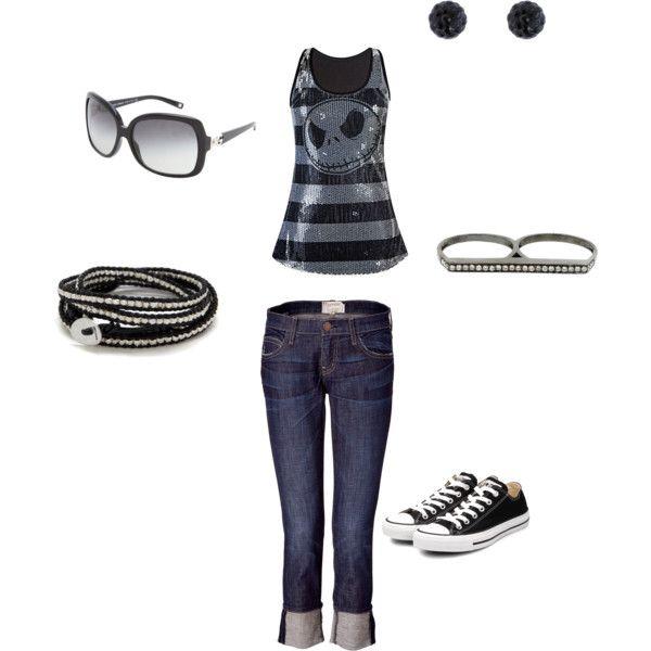 Sportivo. Jeans e canottiera con teschio.