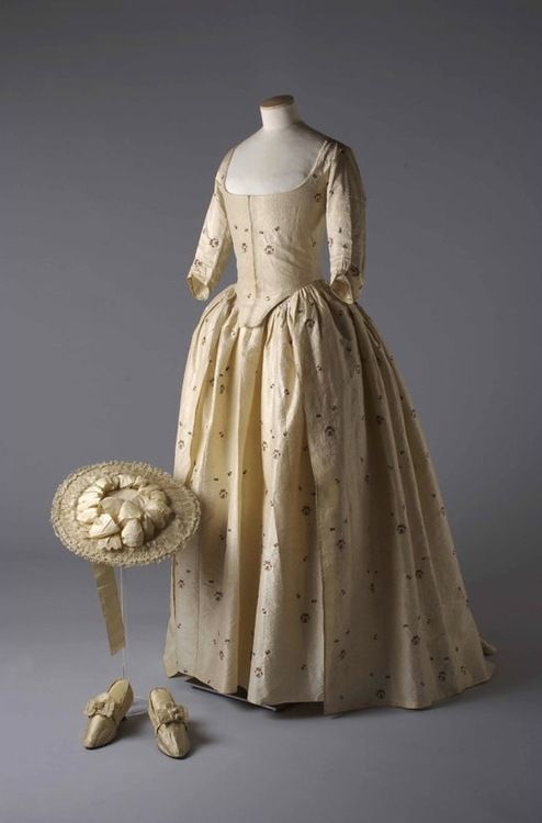 Wedding ensemble, 1780 From the Chertsey Museum via Vogue Paris