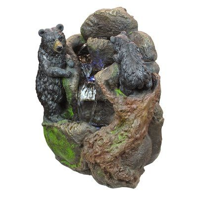Design Toscano Grizzly Gulch Resin Black Bears Sculptural Fountain with LED Light