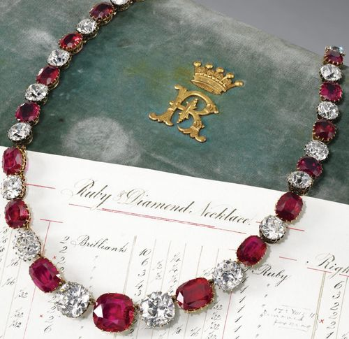 Designed as a rivière of twenty-four cushion-shaped rubies alternating with twenty-four similarly shaped diamonds, mounted in silver and gold, length approximately 433mm, accompanied by the original worksheet listing the weights of the stones and stating that four rubies and four diamonds were added to lengthen the original necklace on 24th October 1884. Via Sotheby's.