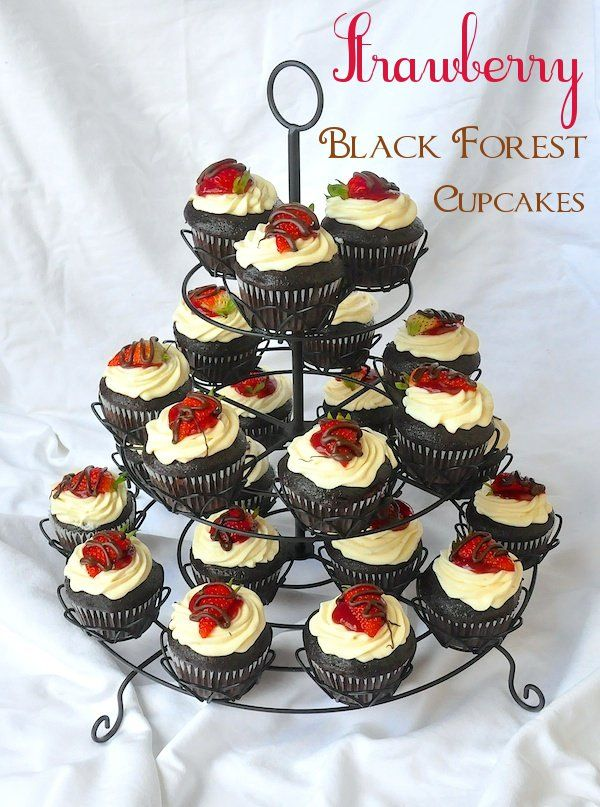 Strawberry Black Forest Cupcakes - sure to add a beautiful focal point to any party buffet table.
