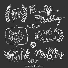 desenhadas mão textos casamento com ornamentos Vetor grátis