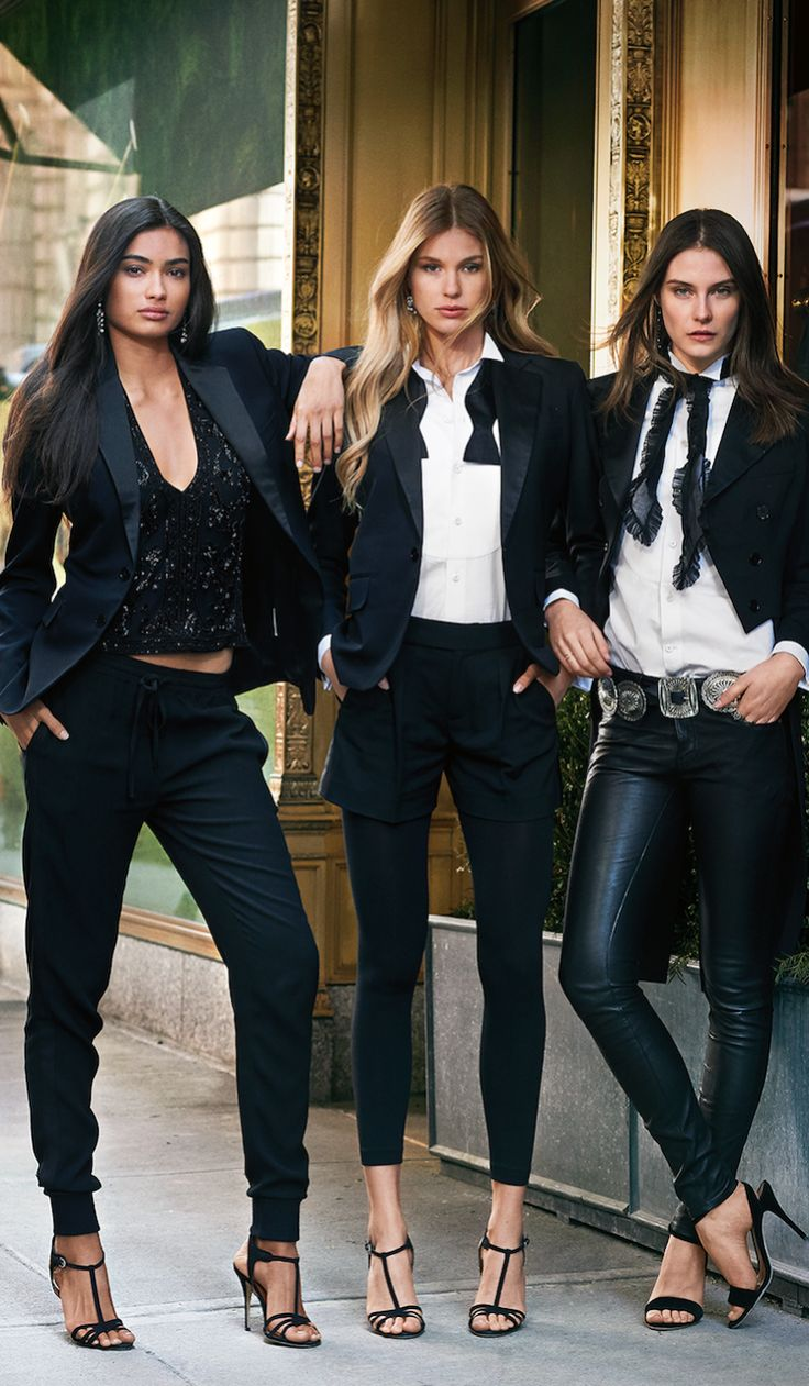 Menswear moment: The Polo Ralph Lauren take on the traditional tuxedo with a distinctively feminine feel. When it comes to chic sophistication, no look compares to a timeless tuxedo. To master the classic look, pair a double-breasted wool jacket with a crisp tuxedo shirt.