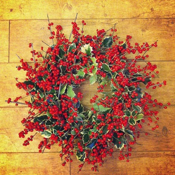 Christmas holly and ilex berry door wreath