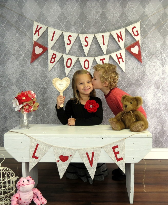 Valentine's Day Photography Prop KISSING BOOTH Burlap Banner
