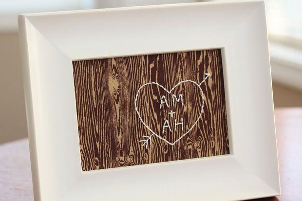 El yapımı ve yaratıcı sevgililer günü hediyeleri - işlemeli çerçeve