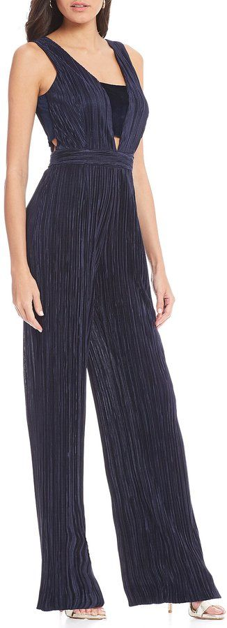 Gianni Bini Caroline Pleated Satin & Velvet Jumpsuit