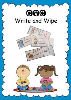 CVC Write and Wipe cards are a great literacy station activity. This is a self checking activity. Students write in word boxes identifying head, body and tail letters. Just print, laminate, cut, fold and paper clip. How to Play Students can write directly on the card with a white board marker, check they got it correct and rub