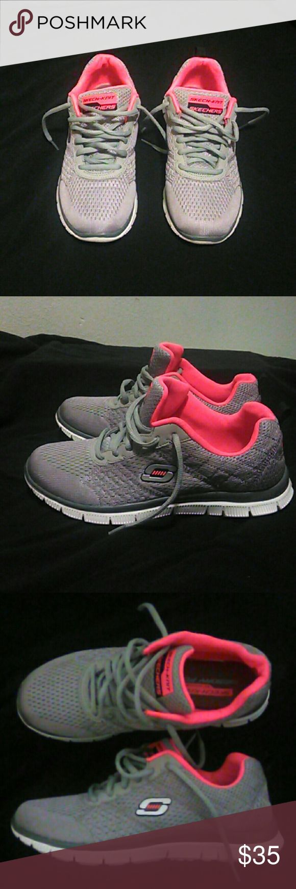 Skecher Skech-Knit w/ Memory Foam Sneaker (Size 7) Like brand new w/out box  Worn 2x in fashionable way no sports In Grade A condition (see pics) No defects or blemishes Grey and Hot Pink in color Memory Foam insoles Originally purchased brand new for $80 Priced to GO still like new at $35 Skechers Shoes Sneakers