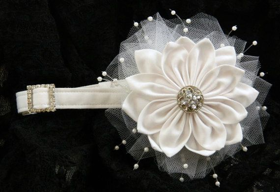 Wedding dog collar in white with removable by OneDogGoneCuteShop, $35.00