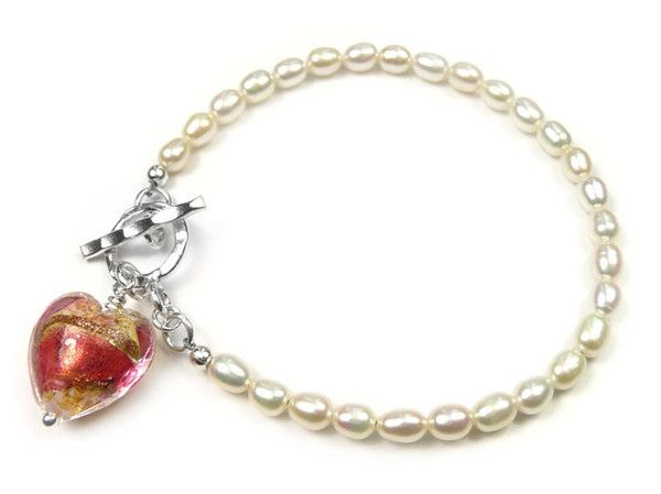 Freshwater Pearl and Murano Bracelet - Ruby and Rose White Core