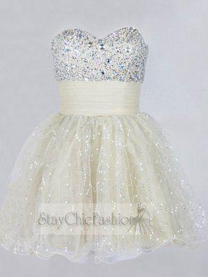 Sparkly Rhinestone Beaded Short Prom Dress 2014