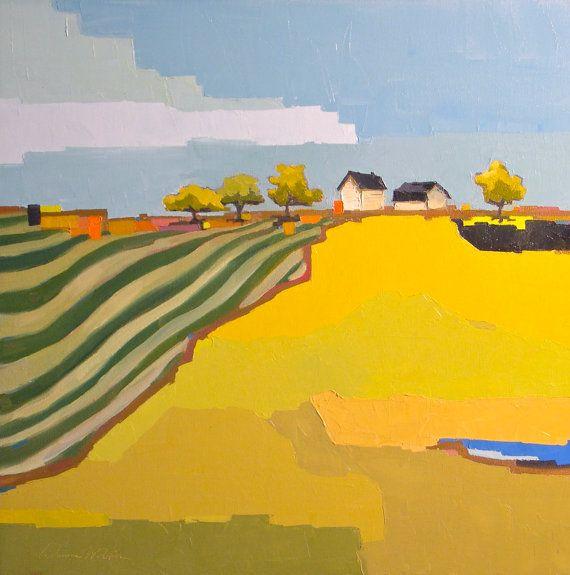 Granja geométrica - 24 x 24 óleo sobre lienzo de pintura de paisaje