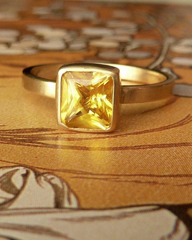 Radiant Cut Yellow Sapphire Ring. $995.00, via Etsy.