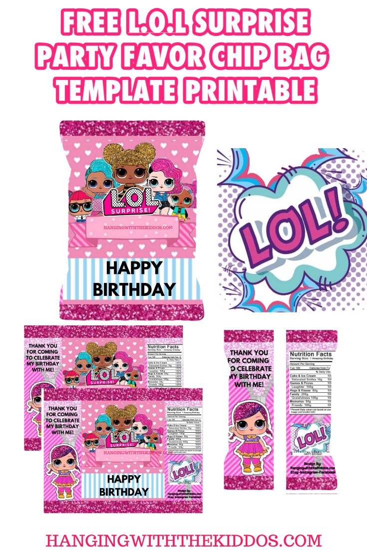 FREE L.O.L Surprise Party Favor Chip Bag Template
