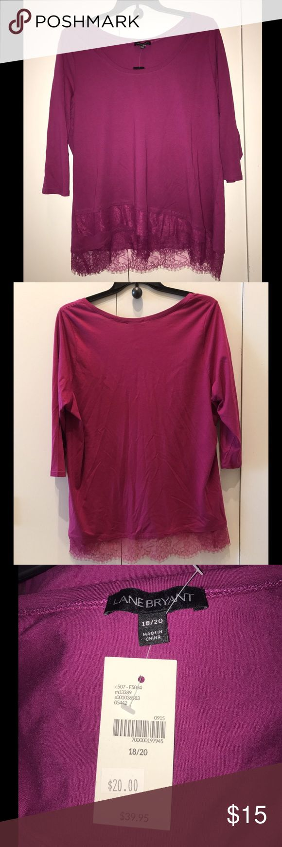 Fushia 3/4 sleeve crew neck shirt Never worn. Lace lining the bottom. Size 18/20. Bundle for discount! Lane Bryant Tops Tunics