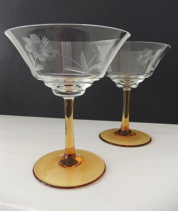 Vintage Champagne Glasses - champagne saucers with amber stems and etched glass