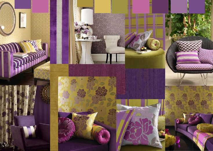 This lively color scheme of purple red purple yellow for Purple and green living room ideas