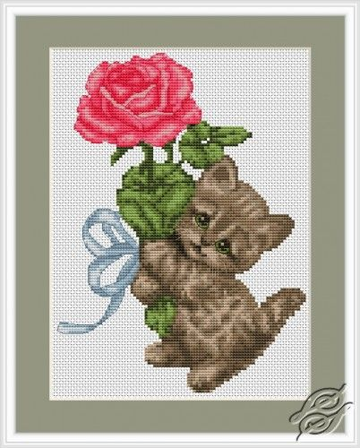 Kitten With Rose - Cross Stitch Kits by Luca-S - B194