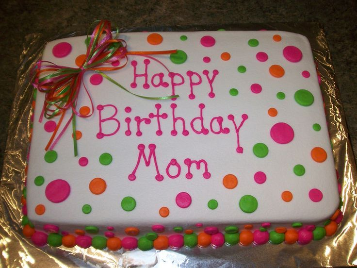 1/2 Polka dot sheet cake in red. green, blue and yellow with baby's name on it